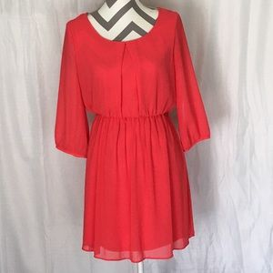 Coral long sleeve mini dress